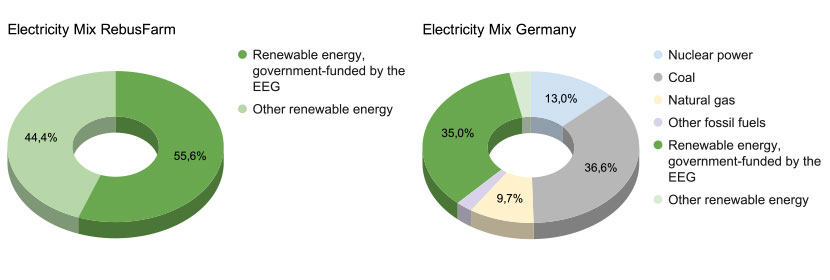 Chart of the RebusFarm Electricity Mix | Chart of the German Electricity Mix